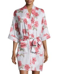 Bedhead Rose Print Short Kimono Robe Light Blue Lt Blue Rose