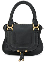Chloe Marcie Tote Bag Calf Leather Cotton Black