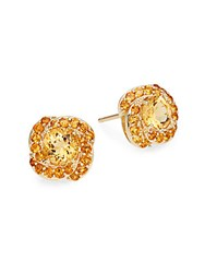 Saks Fifth Avenue Citrine And 14K Yellow Gold Knot Stud Earrings