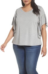 Sejour Plus Size Women's Frill Sleeve Tee Grey Heather