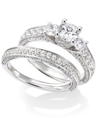 Macy's Certified Diamond Three Stone Bridal Set In 14K White Gold 2 1 2 Ct. T.W.