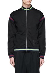 Mcq By Alexander Mcqueen Logo Print Stripe Zip Jacket Black
