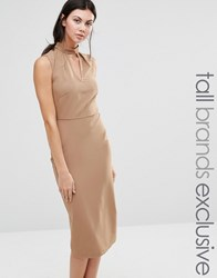 Alter Tall Sleeveless Pencil Dress With Keyhole And High Neck Detail Camel Tan