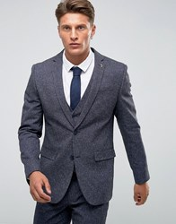 Farah Skinny Suit Jacket In Fleck Navy
