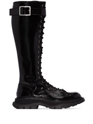 Alexander Mcqueen Lace Up Leather Boots Black