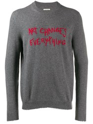 Zadig And Voltaire Art Changes Everything Slim Jumper Grey