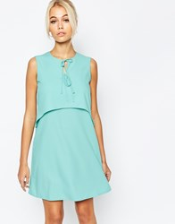 Fashion Union Layer Dress With Tie Detail Green