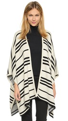 Alice Olivia Raelyn Oversized Poncho Cream Grey Stripe