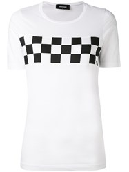 Dsquared2 Checkered T Shirt Women Cotton M White