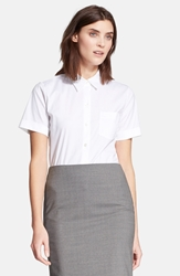 Theory 'Uniform' Short Sleeve Silk Blouse White
