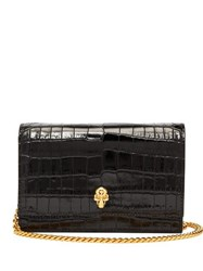 Alexander Mcqueen Skull Mini Crocodile Effect Leather Cross Body Bag Black