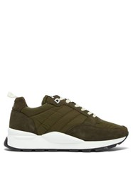 Ami Alexandre Mattiussi Quilted Shell And Suede Trainers Green