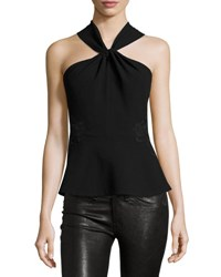 Rebecca Taylor Crepe And Lace Twist Front Top Black