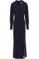 Mikael Aghal Woman Wrap Effect Button Embellished Crepe Maxi Dress Navy