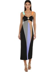 Fausto Puglisi Jersey And Lycra Midi Dress W Cut Outs Black