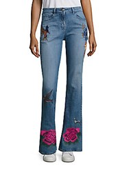 Peserico Embroidered Flared Leg Jeans Emiblue