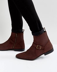 Asos Chelsea Boots In Burgundy Suede With Buckle Detail And Zips Burgundy Red
