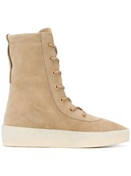 Yeezy Lace Up Boots Unisex Calf Leather Calf Suede Rubber 36 Nude Neutrals