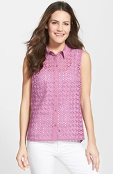 Women's Halogen Eyelet Front Sleeveless Top