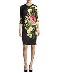 Naeem Khan Floral Jacquard 3 4 Sleeve Cocktail Dress Black Yellow