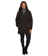 Jessica Simpson Plus Size Softshell With Bib And Faux Fur Collar Black Women's Coat