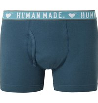 Human Made Two Pack Ribbed Cotton Boxer Briefs Blue