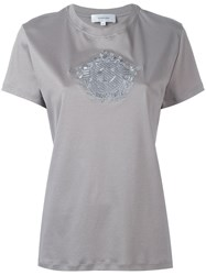 Carven Embroidered Motif T Shirt Grey