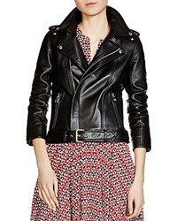 Maje Bocelui Leather Moto Jacket Black