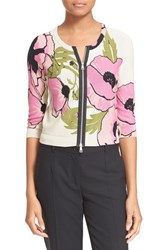 Women's Tracy Reese Cropped Zip Cardigan Pink Poppies