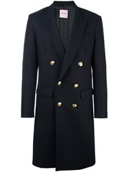 Palm Angels Double Breasted Midi Coat Blue