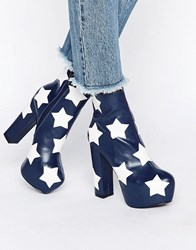 Daisy Street Star Platform Ankle Boots Navy