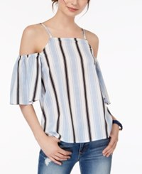 Almost Famous Juniors' Striped Cold Shoulder Top Blue White