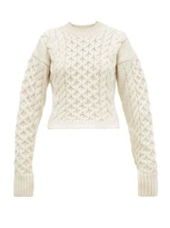 Joseph Cable Knit Wool Blend Sweater Cream