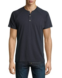 Ag Adriano Goldschmied Raglan Short Sleeve Henley Dark Navy