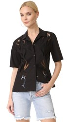Alexander Wang Boxy Hawaiian Shirt With Tattoo Embroidery Nocturnal