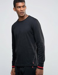 Polo Ralph Lauren Long Sleeve Top With Contrast Cuffs Black