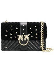 Pinko Quilted Swallow Chain Strap Bag Black