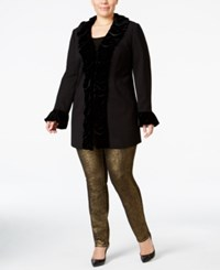 Inc International Concepts Plus Size Velvet Ruffle Coat Only At Macy's Black