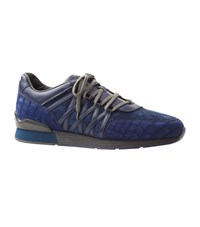 Stefano Ricci Olympia Suede And Crocodile Trim Sneakers Navy