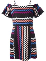 Msgm Zig Zag Print Dress Multicolour