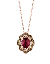 Levian Chocolatier 14K Strawberry Gold Chocolate And Vanilla Diamond Raspberry Rhodolite Pendant 0.39 Tcw Rose Gold