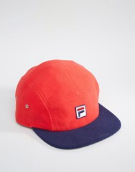 Fila Cap In Fleece With Box Logo And Contrast Visor Red Black
