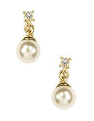 Anne Klein Gold Plated Crystal And Faux Pearl Drop Earrings