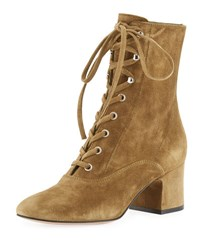Gianvito Rossi Suede Lace Up Chunky Bootie Green