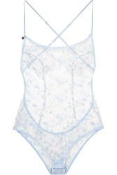 Agent Provocateur Zadi Satin Trimmed Embroidered Tulle Bodysuit Sky Blue