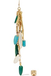 Maje Gold Tone Bead And Enamel Earrings Metallic