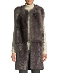 Karl Donoghue Reversible Paneled Lamb Shearling Gilet Shadow