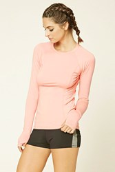 Forever 21 Active Reflective Runners Top Coral