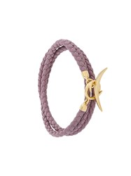 Shaun Leane Quill Wrap Bracelet Leather Gold Plated Sterling Silver Pink Purple