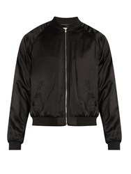 Saint Laurent Snake Applique Satin Bomber Jacket Black